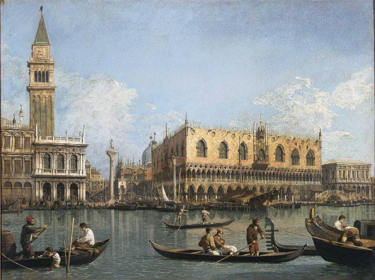 Dipinto con Palazzo Ducale del Canaletto