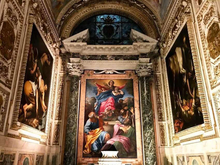 La Cappella Cerasi con le opere di Caravaggio e Annibale Carracci