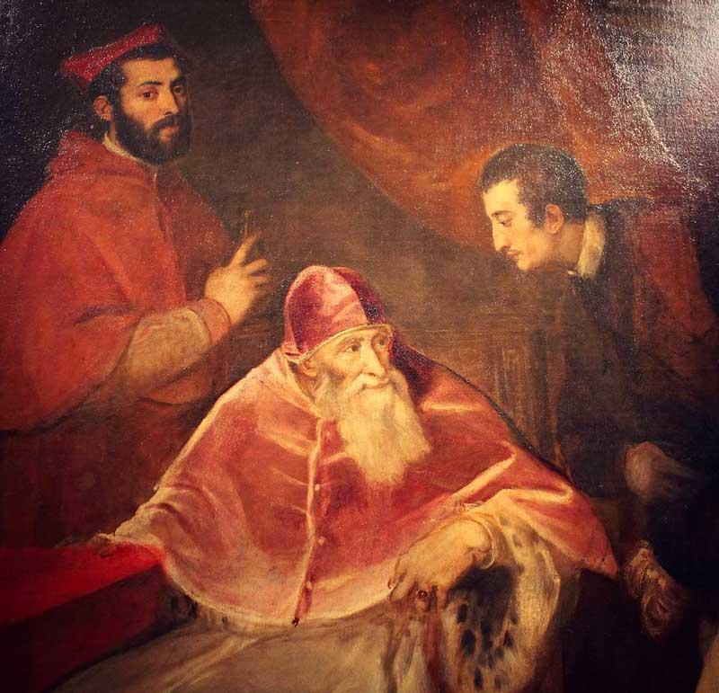 Papa Paolo III ed i nipoti ritratti da Tiziano Vecellio