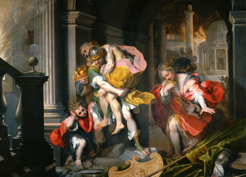 Fuga di Enea da Troia Barocci Galleria Borghese